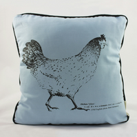 Handmade cushion with screen print of hen, chicken, rooster, farmhouse, rustic