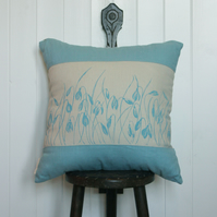 Handmade linen cushion with flower design, blue and white, home decor
