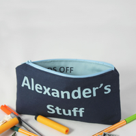 Personalised kids' pencil case, zipper pouch, back to school, birthday gift bag