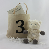 Children's birthday gift bag with number, rustic present bag for kids