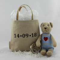 New baby or Christening rustic gift bag, personalised present bag, nursery decor
