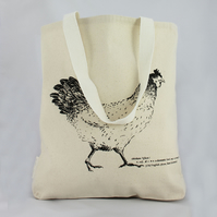 Handmade canvas tote, shopping bag, cream tote bag, chicken design