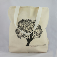 Handmade natural cotton canvas tote bag, shopping bag, tree design