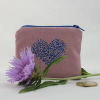 Handmade linen heart design coin wallet, purse
