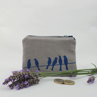handmade coin purse, wallet, birds on a wire design