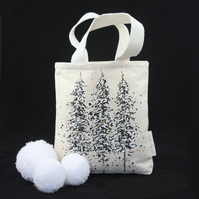 Handmade Christmas tote gift bag with snowy winter trees design