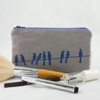 Linen make up bag or cosmetics pouch for handbag, purse or travel