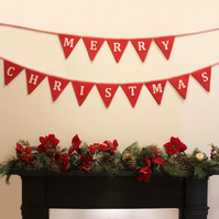 Handmade Christmas bunting, festive holiday banner, Christmas decoration
