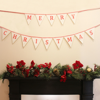 Handmade Christmas fabric bunting, red and white, Merry Christmas message banner