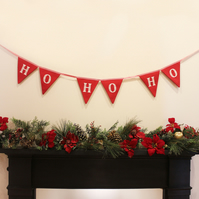 Handmade Christmas 'ho ho ho' bunting in red and white cotton