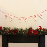 Handmade vintage 'ho ho ho' red and white Christmas bunting