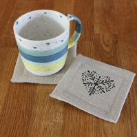 Set of four handmade linen coasters, Scandi style design