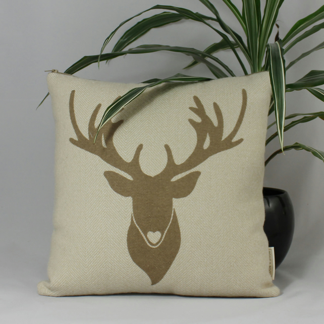 Handmade Christmas cushion with stag design