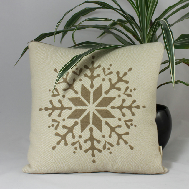 Handmade Christmas cushion with snowflake design