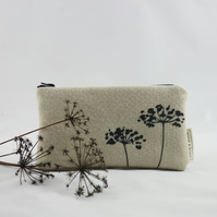 Handmade winter make-up or cosmetics bag