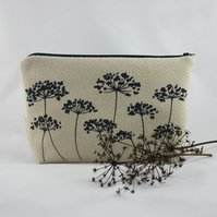 Handmade washbag with original cow parsley design