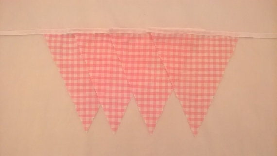 "Bunting - Pink Gingham - 10ft - 9 Flags - 7""x8"""