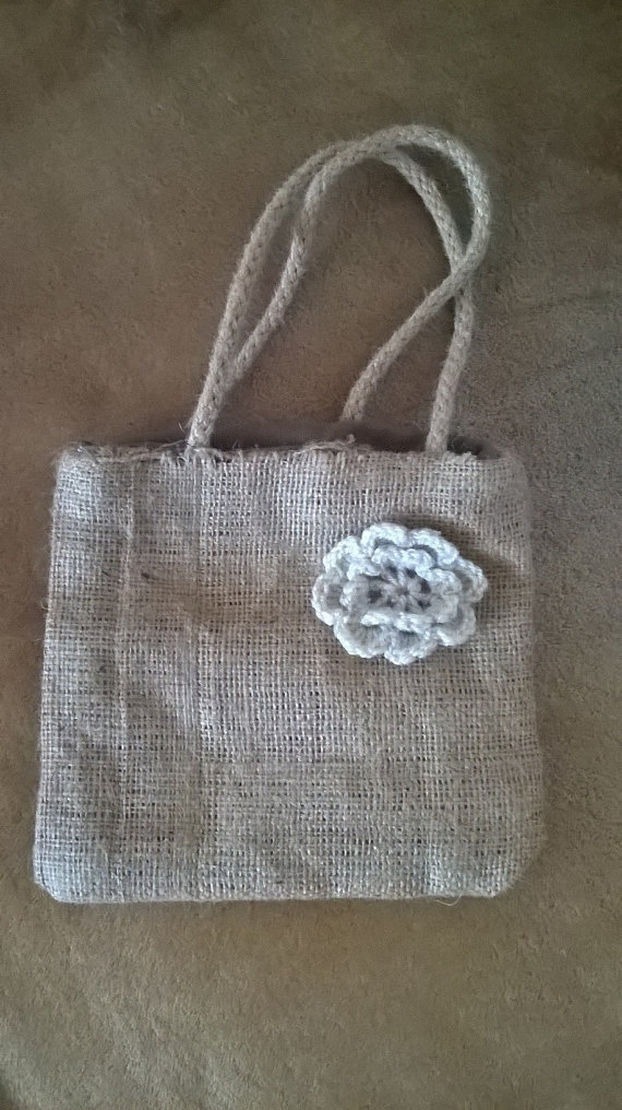 Rustic Child's Toddler Burlap Tote or Flower Girl Bag Fully Lined