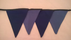 "Blue Bunting 9ft - 9 Flags - 7""x9"" Double Sided"