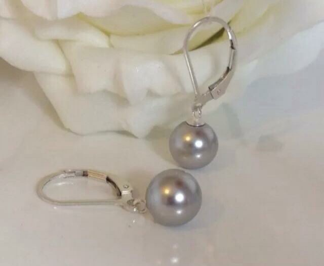 Leverback grey pearl sterling silver earrings