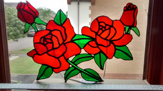 Red Roses in full bloom. Stained Glass Suncatcher. 25% Charity Donation