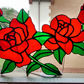 Red Roses in full bloom. Stained Glass Suncatcher.