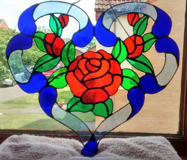 Love Heart and Red Roses stained glass suncatcher window decoration.