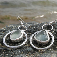 Blue-white Sea glass earrings.