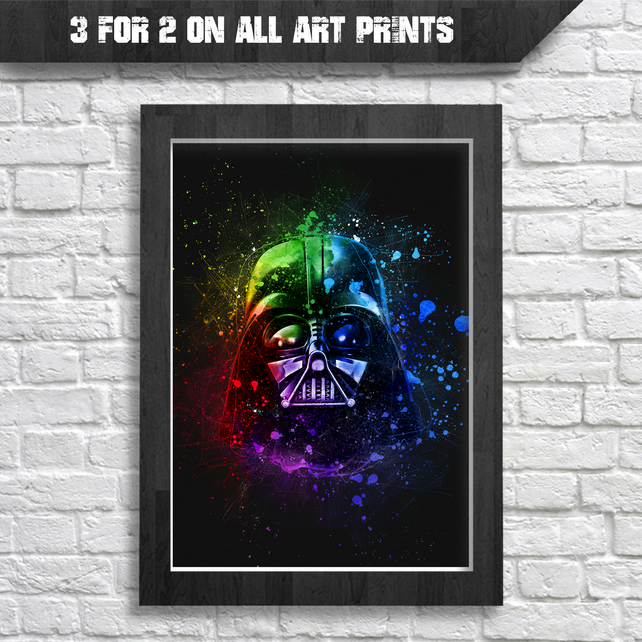 Darth Vader Helmet Digital Watercolour Splash Painting, A4 Art Prints, Star Wars