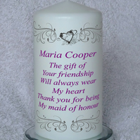 Maid Of Honour Wedding Candle. Maid Of Honor. Wedding Favors. Made To Order.