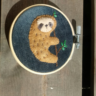 Sloth wall art embroidery hoop