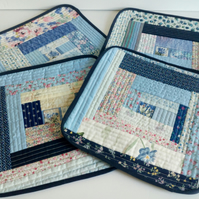 Improv patchwork quilt as you go placemats, country cottage style, blue, 4 pk