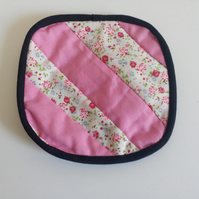 Reversible Quilted coaster with stripe design in pink and florals