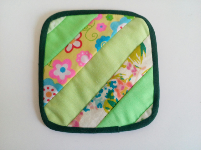 Reversible Quilted coaster with stripe design in green and florals