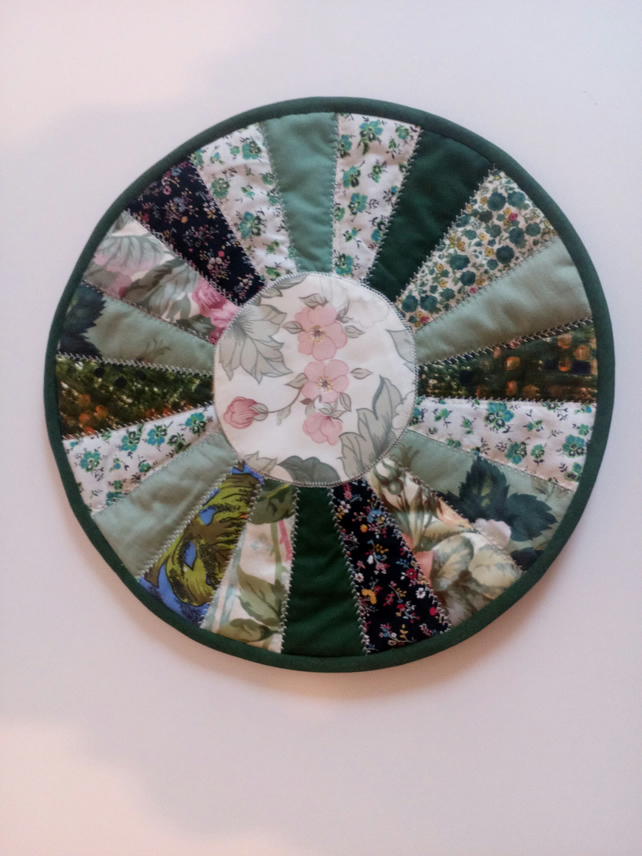 Placemat Table Mat Quilted Patchwork Round Folksy