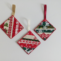 Christmas decorations, Handmade,  patchwork, tree decorations
