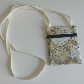 Steampunk crossbody bag, festivals, dogwalking, fabric bag, long strap, cream