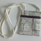Cotton crossbody bag, festivals, dogwalking, fabric bag, long strap, cream, text