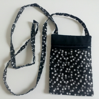 Crossbody,  festivals, dogwalking, fabric bag, long strap, lined, black & white