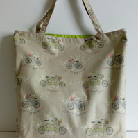 Fabric shopping bag, cloth bag, cotton bag, bicycle design, tote, bag, shopper