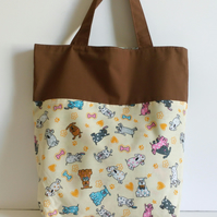 Reversible tote bag, dog design, fabric bag, shopper, shopping bag
