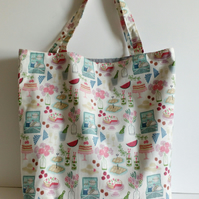 Tote bag, fabric bag, shopping bag, cloth bag, cotton bag, picnic design, tote