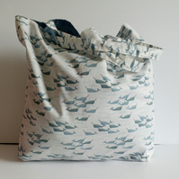 Fabric shopping bag, cloth bag, cotton bag, narwhal design, tote, bag, shopper