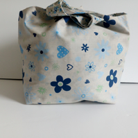 Floral tote bag, shopping bag, fabric bag, reversible shopping bag, bag, flower