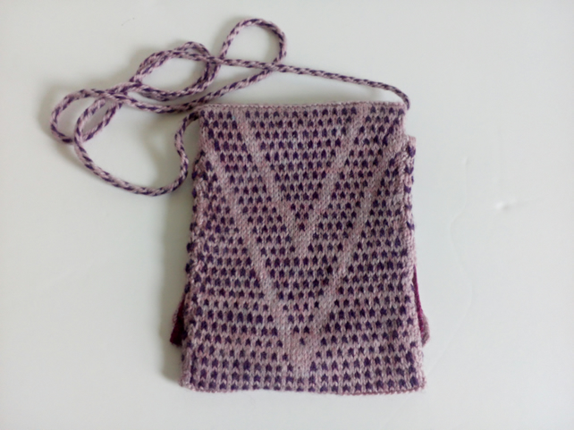 Knitted cross body bag with braided handle, lined bag, handmade, purple, pink