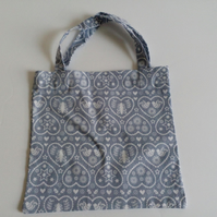 Xmas gift bag, grey, white, hearts, gifts, 100% cotton bag, Christmas gift bag