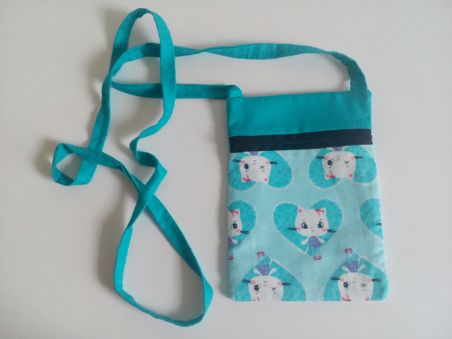 Turquoise crossbody bag, lined, cartoon cat design, white cat, hearts, bag,