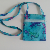 Crossbody bag, turquoise, dogwalking bag, long strap, lined, lizards, reptiles