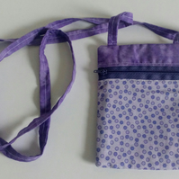 Crossbody bag, lilac, mauve, lined, dog walking, festivals, fabric bag