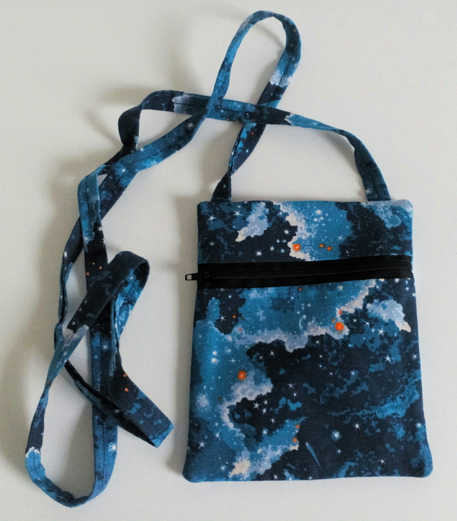 Crossbody bag, Blue, stars, Universe, lined, dog walking, festivals, fabric bag